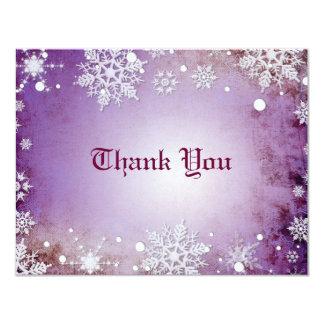 Wintery Purple Thank You Card 11 Cm X 14 Cm Invitation Card