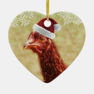 Wintery Snowflake Santa Hat Chicken Christmas Ornament