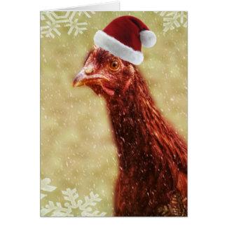 Wintery Snowflake Santa Hat Chicken Greeting Card