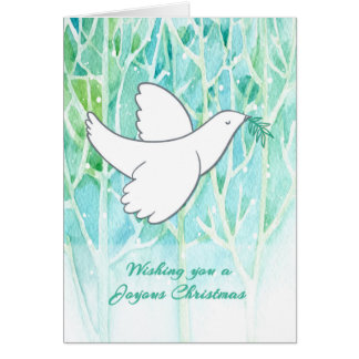 Wintery Trees with White Dove, Joyous Christmas Greeting Card