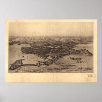 Winthrop Massachusetts 1894 Antique Panoramic Map Poster
