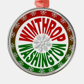 Winthrop Washington red green snowflake ornament