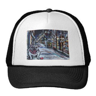 Wintry Bulldog xmas scene Hats