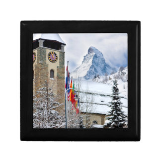 Wintry Church With Matterhorn In Background Gift Box