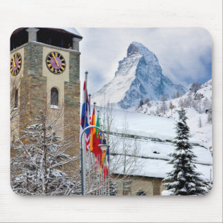 Wintry Church With Matterhorn In Background Mouse Mat