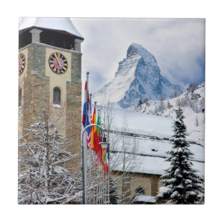 Wintry Church With Matterhorn In Background Small Square Tile