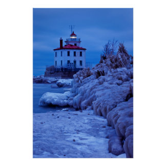 Wintry, Icy Night At Fairport Harbor Lighthouse Poster