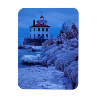 Wintry, Icy Night At Fairport Harbor Lighthouse Rectangular Photo Magnet