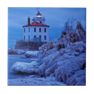 Wintry, Icy Night At Fairport Harbor Lighthouse Tile