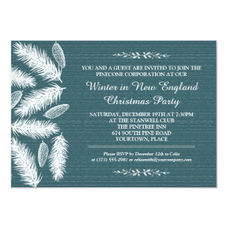 Wintry Pinecone Blue Corporate Holiday Party 13 Cm X 18 Cm Invitation Card
