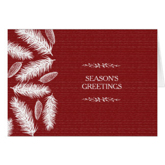 Wintry Red Pinecone Christmas Holiday Corporate Card