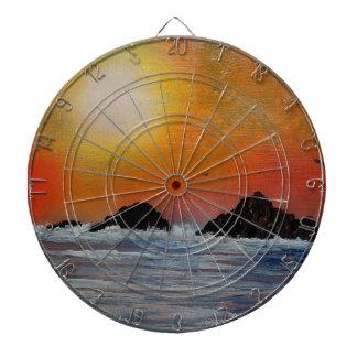 Wintry sunset at sea dartboard