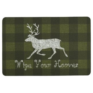 Wipe Your Hooves Reindeer Distressed Plaid Burlap Floor Mat