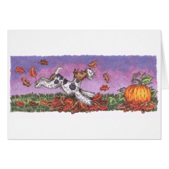 Wire Fox Autumn card with white envelope
