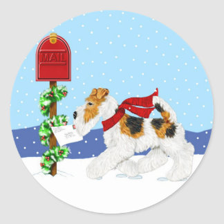 Wire Fox Christmas Mail Classic Round Sticker