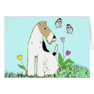 Wire Fox Terrier and Butterflies Card