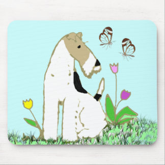 Wire Fox Terrier and Butterflies Mouse Mat