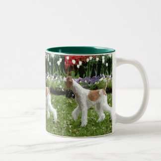 Wire Fox Terrier and Flowers Two-Tone Mug
