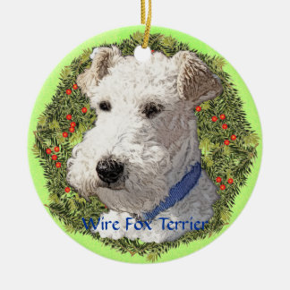Wire Fox Terrier Art Christmas Ornament