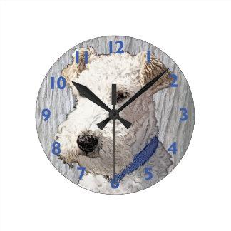 Wire Fox Terrier Art Round Clock