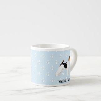 Wire Fox Terrier - Blue w/ White Diamond Design Espresso Mug