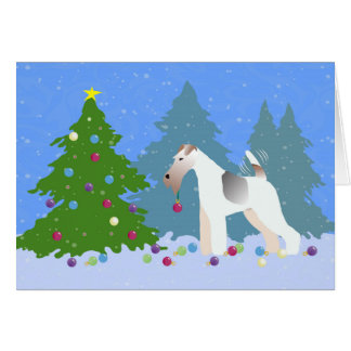 Wire Fox Terrier Decorating Christmas Tree -Forest Card