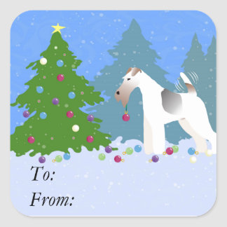 Wire Fox Terrier Decorating Christmas Tree -Forest Square Sticker