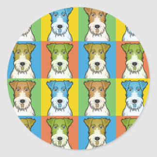 Wire Fox Terrier Dog Cartoon Pop-Art Classic Round Sticker