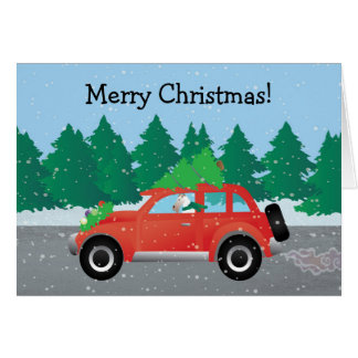 Wire Fox Terrier Driving a Christmas Car Card