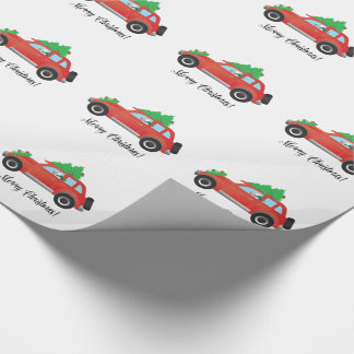 Wire Fox Terrier Driving a Christmas Car Wrapping Paper