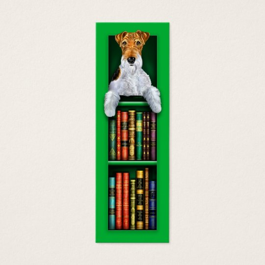 Wire Fox Terrier Green Bookmark Mini Business Card