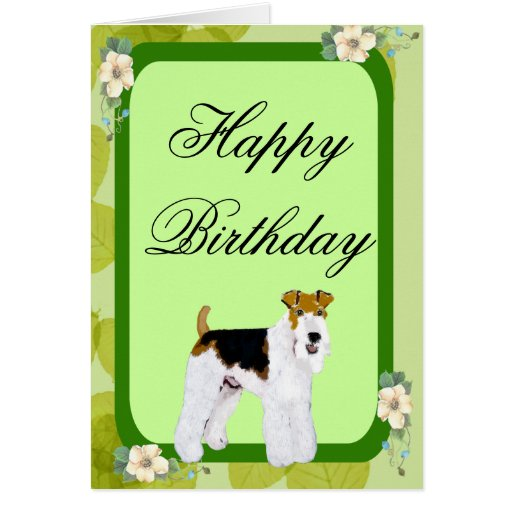 Wire Fox Terrier - Green Leaves Design Card