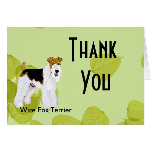 Wire Fox Terrier - Green Leaves Design Greeting Cards
