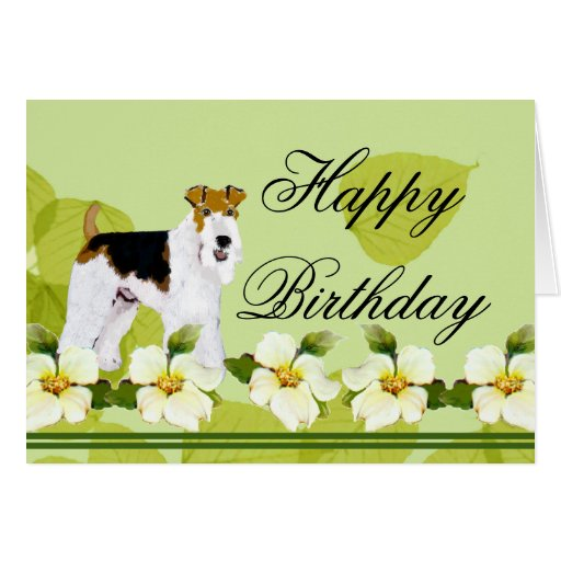 Wire Fox Terrier - Green Leaves Design Greeting Card