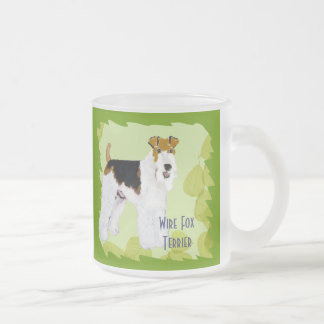 Wire Fox Terrier - Green Leaves Design Frosted Glass Mug