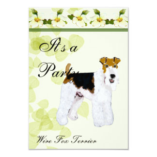 Wire Fox Terrier - Green Leaves Design Personalized Invitation