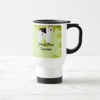 Wire Fox Terrier - Green Leaves Design Stainless Steel Travel Mug