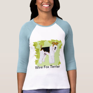 Wire Fox Terrier - Green Leaves Design Tee Shirts