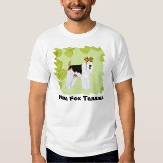 Wire Fox Terrier - Green Leaves Design Tshirt