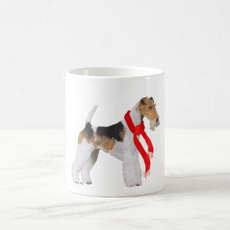 Wire Fox Terrier in a Scarf Basic White Mug