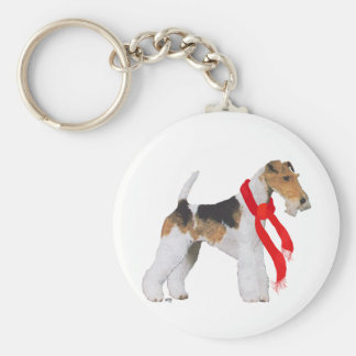 Wire Fox Terrier in a Scarf Key Ring