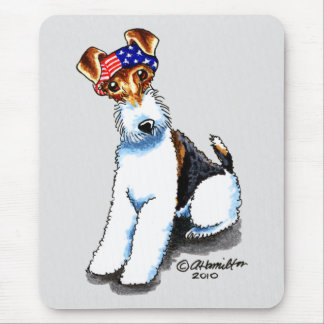 Wire Fox Terrier in America Mouse Pad