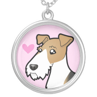 Wire Fox Terrier Love Silver Plated Necklace