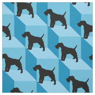 Wire Fox Terrier on Blue Cubes Fabric