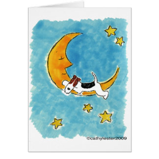 Wire fox terrier on the moon card