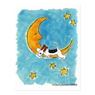 Wire fox terrier on the moon postcard