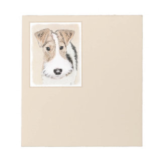 Wire Fox Terrier Painting - Cute Original Dog Art Notepad