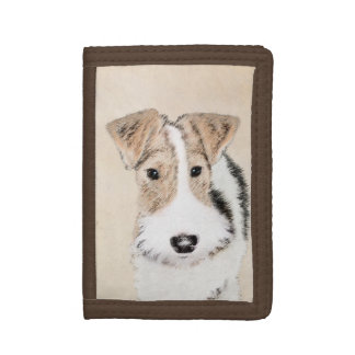 Wire Fox Terrier Painting - Cute Original Dog Art Tri-fold Wallet