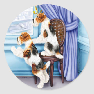 Wire Fox Terrier Parlor Pals Round Sticker