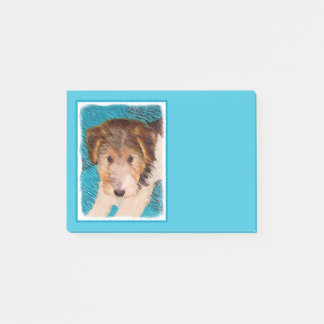 Wire Fox Terrier Puppy Painting - Original Dog Art Post-it Notes